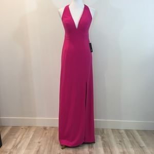 NWT Aidan Mattox Hot Pink Open BackV-Neck Dress 6